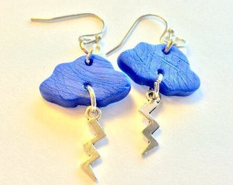 Thunder Lightning Blue and Silver Storm Cloud Earrings