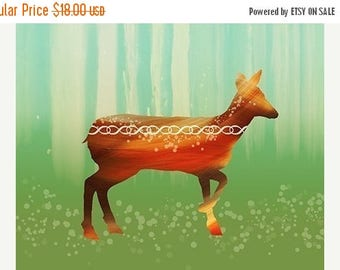 Mothers Day Sale Deer Art Modern - Morning in the Forest - 8x10 Print - Orange Green - Woodland