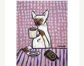 30 Off Siamese Cat at the Coffee Shop Art Print  JSCHMETZ modern abstract folk pop art AMERICAN ART gift