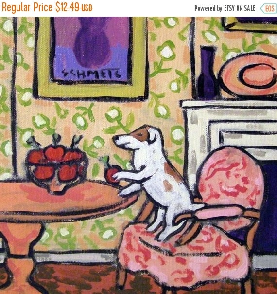 30 Off Jack Russell Terrier Apple Thief Dog Art Tile Coaster Gift