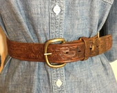80s Daylen Belt Co. Acorn Print Hand Tooled Brown Saddle Leather Belt with Brass Buckle, Size M to L for Women, Men's Small