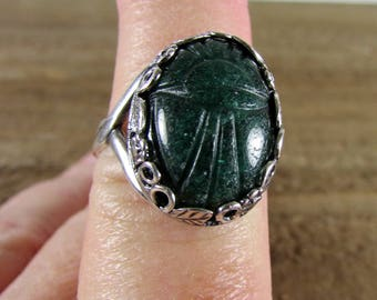 Egyptian Scarab Chrysoprase Oval Ring, Scarab Cabochon Ring, Bold Ring, Gemstone Rings