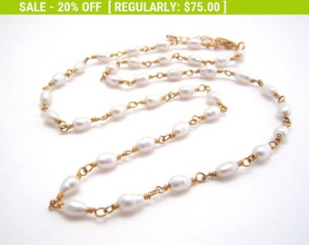 20% Off Sale White Pearl Strand Necklace, Rosary Style, Gold, Wedding, Wire Wrapped, Dainty Necklace