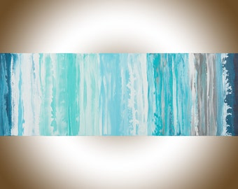 Abstract art seascape painting original art blue turquoise gray white palette knife painting wall art wall Decor wall hanging by qiqigallery