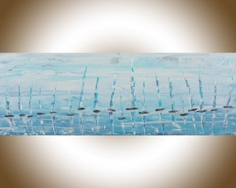Sail boat painting original seascape ocean art blue white palette knife painting on canvas wall art wall Decor wall hanging by qiqigallery