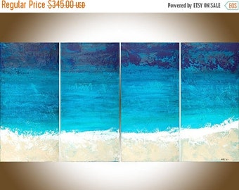Large abstract painting blue colour art Original artwork painting on canvas Wall art wall decor Mother's Day by qiqigallery