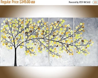 """Yellow grey painting Contemporary wall art large Modern art impasto canvas art original artwork wall decor """"Weeping Willow"""" by QiQigallery"""