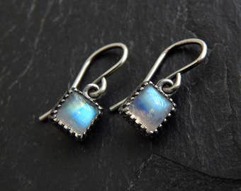 Square Moonstone Earrings: Sterling silver, rainbow moonstone with blue flash, 6mm crown bezel dangles, french hook earwire, June birthstone