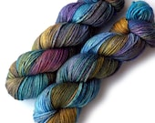 Alpaca Silk Worsted Handdyed Yarn, 218 yards - Soft Blue Monet