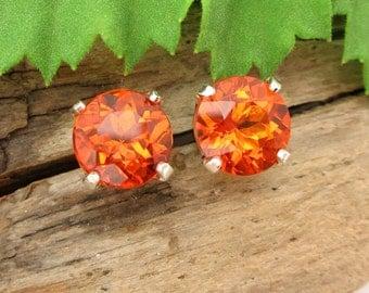 Madeira Citrine Stud Earrings, Deep Orange Earrings in Gold, Silver, or Platinum, 8mm