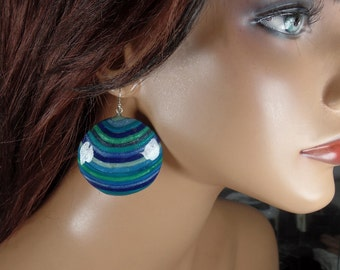 Polymer Clay round dangle earrings, blues and greens, ooak