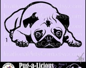 Pug-a-Licious Pug Dog Silhouettes POSE 1 - Vinyl Image Ready Graphics 1 eps, svg, png, scl - 1 dog {Instant Download}