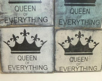 STORE CLOSING 50% off SALE / Queen of Everything / queen sign / hand painted sign / crown sign / wood crown sign / I'm the queen sign / sign