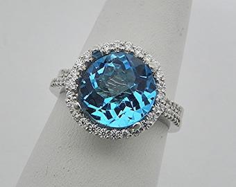 AAAA London Blue Topaz 10mm Round  4.36 Carats 14K white gold Diamond Halo Wedding Bridal set .60 carats of diamonds 2358