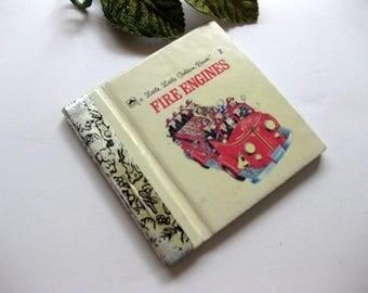 Vintage Tiny, Little Golden Book, Fire Engines, Miniature Childrens Book