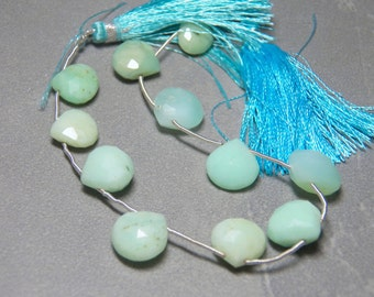 Chrysoprase Teardrops Faceted Puffed - 13x12mm Full Strand
