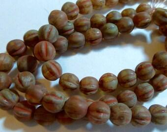 6mm Matte Brown Fluted Glass Czech Melon Beads (25) 1185