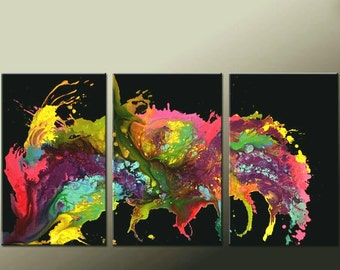 Abstract Canvas Art Painting Huge 3pc 72x36 Original Contemporary Painting by Destiny Womack - dWo -  Untamed