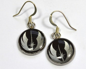Star Wars Jedi Order Crest Sci Fi Silver Resin Earrings