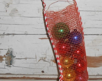 Vintage Mesh Christmas Stocking Filled with Multi Colored Mercury Glass Ornaments