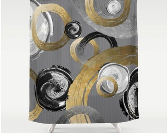 Big Gold Distressed Rings Black and White Swirled Circles, Fabric Shower Curtain, Modern Abstract Elegant Home Decor