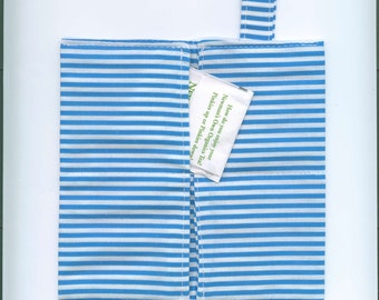 Handmade Fabric Tea Bag Wallet, BLUE-WHITE Stripes, Four Pockets, FREE Shipping,  Holds Tea & Sweetener - Also Travel Jewelry Wallet
