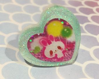 Pink Bunny Mint Heart Resin Ring