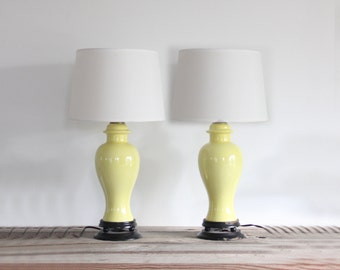 Pair of Yellow Ceramic Ginger Jar Urn Lamp (Set of 2)