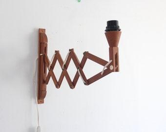 Handmade Teak Midcentury Accordion Wall Adjustable Swing Arm Light