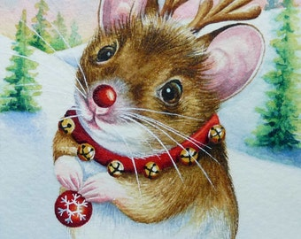 North Pole Reindeer Mouse Limited Edition ACEO Giclee Print reproduced from the Original Watercolor