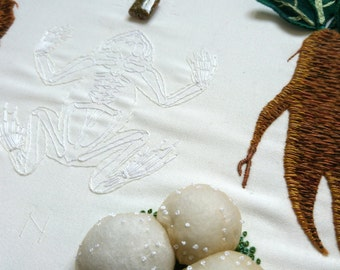 Ritual Burial: Frog, Hand Embroidery Art