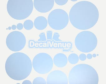 Baby Blue Polka Dot Circles Wall Decals - Various sizes - Mix and Match dots vinyl stickers