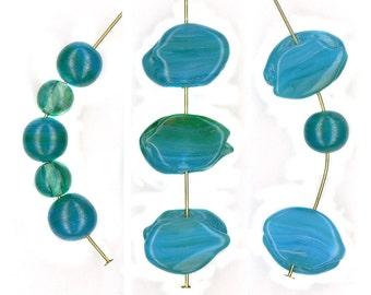 Vintage Bicolor Beads Blue & Green Blend Assorted Shapes