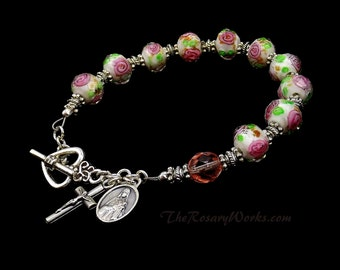 St Therese Rosary Bracelet Chaplet Single Decade Pink Roses White Miraculous Medal Undoer Knots Little Flower Holy Spirit Family OL Grace