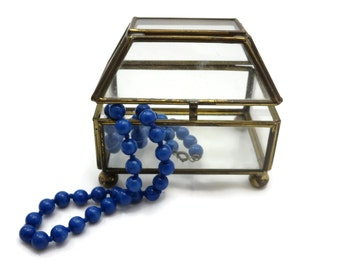 Clear Glass Box Display Case - Glass Treasure Chest Box, Geometric