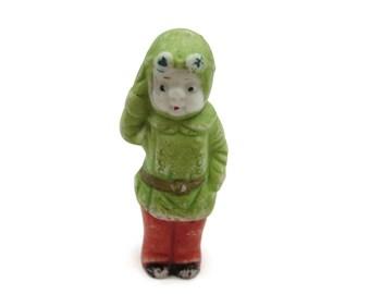 Porcelain Figurine - Bisque Frozen Charlotte, Comic Strip Character, Pilot, Miniature, Hand Painted