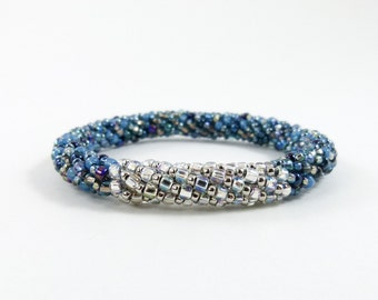 Bead Crochet Rope Bangle Bracelet in Pave and Teal - Item 1551