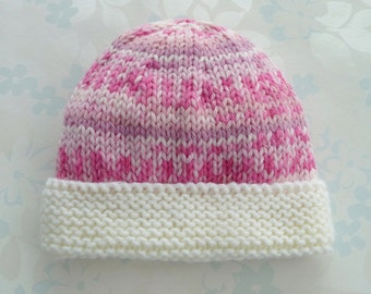 PREEMIE HAT - to fit 2.5 to 5.5 lb baby girl - NICU Kangaroo Care - baby yarn in shades of pink with an ivory brim