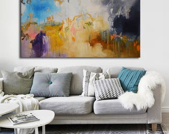 Purple orange white Abstract Painting, large original art Painting, blue purple gray, White painting, colorful abstract lobby office art