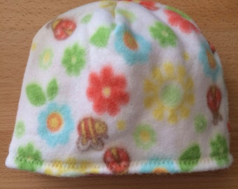 Blooms and Bugs Polar Fleece Baby Hat Newborn to Six Months