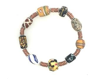 African Trade Bead Bracelet #3.  6 1/2 ins