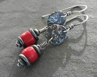 Rustic Earrings, OOAK Jewelry, Artisan Earrings, Handmade Earrings, Sterling Silver Jewelry, Coral Earrings.