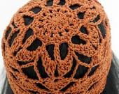 Crocheted Flower Mesh Hat. Adult. Beanie. Cotton. Brown. Bronze.