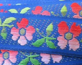 """Italy 2 Yards Fabric Vintage Trim Dark Blue Floral trim 13/16th"""" Wide Ribbon  RV 56"""