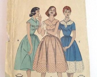 1955 Butterick pattern 7238 Tab Yoke Dress size 14 bust 32