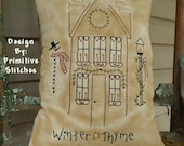 Winter Thyme Saltbox-Primitive Stitchery  E-PATTERN by Primitive Stitches-Instant Download