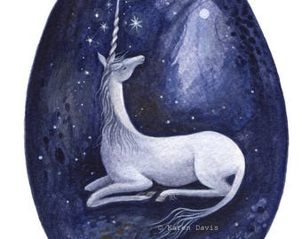 The Quiet Glade/ Moonlight Unicorn/ Art print by Karen Davis