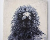 Crow Tile - Dishevelled Crow Portrait by June Hunter on Hanging Marble Tile or Coaster - Bird Lover Gift