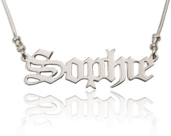Custom Old English Name Necklace - Silver Name Necklace - Personalized Name Necklace - Nameplate Necklace - Check other fonts!