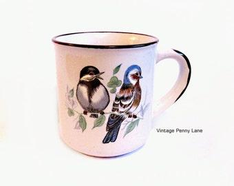 Vintage Stoneware Bird Mug, Coffee Cup, Ceramic Tea Cup